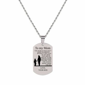 Sentiment Tag Necklace - TO MOM FROM SON