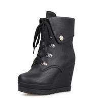 Fashion Wedges High Heels Platform Ankle Boots For Women y Round Toe Lace Up Lady's Motorcycle Boot Alternative Measures