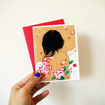 Card - Lotus Tattoos - Lottie - Sweet Floral Art Card with Envelope