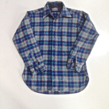 Vintage Pendleton Wool Board Shirt Plaid Men Preppy Ivy League Grunge Retro Hipster -- S Small