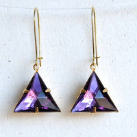 SALE - Amethyst Triangle Earrings - Handmade Jewelry - Free Shipping in the US - Black Friday / Cyber Monday