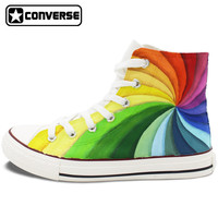 Men Womens Converse All Star Hand Painted Shoes Design Colorful Rainbow Vortex Canvas Sneakers Flats High Top for Gifts Presents