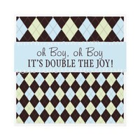Oh Boy It's Twins Argyle Baby Boys Twin Shower Personalized Announcements from Zazzle.com