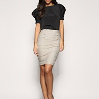 ASOS Check Panel Front Pencil Skirt