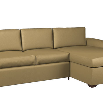 Eclipse Leather Chaise Sectional 2-Cushion Queen Sofa Sleeper