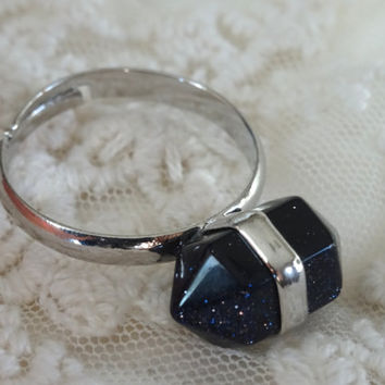 1- Blue Goldstone Gem Ring Adjustable Silver Blue Shimmer Stone Two Point Gem Silver Stone Blue Bullet Point Ring