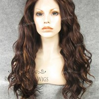24 inch Synthetic Lace Front with Wave Texture in Reddish Brown Mix