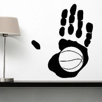Wall Vinyl Sticker Decal Abstract Palm Basketball Player Ball Basketboll (n042)