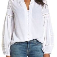 Caslon® Embroidered Peasant Sleeve Top | Nordstrom