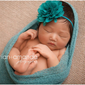 Teal Baby Headband, Newborn Headband, Flower Girl Headband, Newborn Photo Prop, Baby