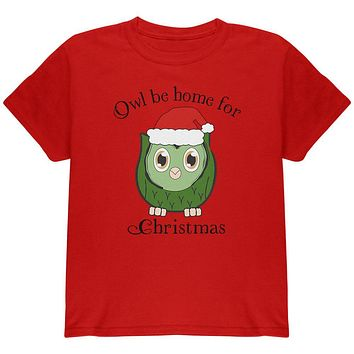 Owl I'll Be Home For Christmas Cute Funny Pun Youth T Shirt
