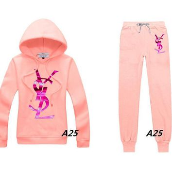 YSL Casual Print Hoodie Top Sweater Pants Trousers Set Two-piece Sportswear     woman