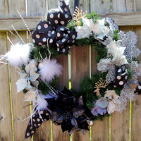 Free Shipping-Black- White - Silver Christmas Wreath- Holiday Wreath- Front Door Wreath- Christmas Wreath- Floral Design