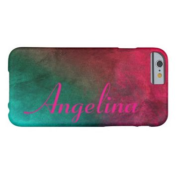 personalize it in pink on colorful abstract art barely there iPhone 6 case
