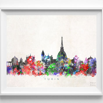 Turin Skyline Print, Italy Print, Turin Poster, Italian Cityscape, Watercolor Painting, Wall Art, Decor, Dorm Decor, Christmas Gift