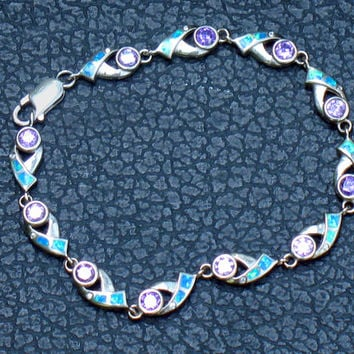 Bracelet, Amethyst Dichroic Glass Sterling Silver, Vintage Jewelry, Blue Teal Purple