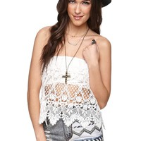 LA Hearts Crochet Overlay Tube Top - Womens Shirts - White - Large