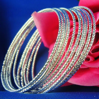 5PCS/lot 925 Sterling Silver fashion trendy party bangle set bracelet (Color: Silver white) = 1946742532