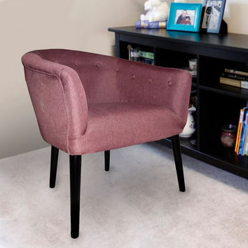 Furnistars Red Tufted Fabric Club Chair