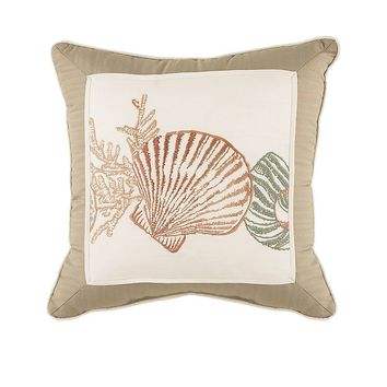 Chapel Hill by Croscill Seashore Square Throw Pillow (Beige/Khaki)