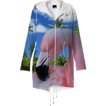 Pink Flamingo and Beach Raincoat created by ErikaKaisersot | Print All Over Me
