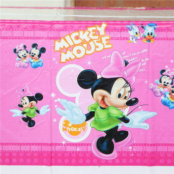 Baby Shower Kids Favors Minnie Mouse Tablecloth Happy Birthday Party Cartoon Theme Tablecover Decoration Supplies 108*180cm