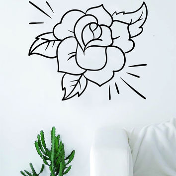 Rose v3 Flower Quote Wall Decal Sticker Room Art Vinyl Beautiful Nature Cute Nursery Tattoo Decor Traditional