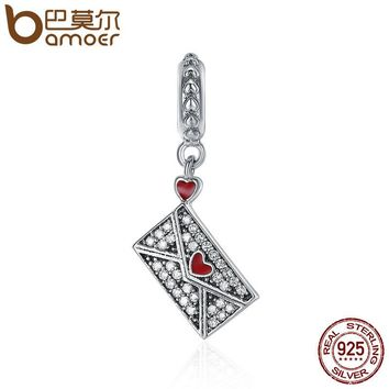 Genuine 100% 925 Sterling Silver Romantic Love Letter Charm Pendant fit Women Charm Bracelet & Necklaces jewelry SCC409