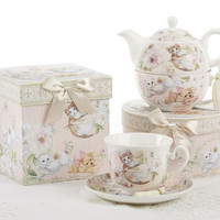 Gift Boxed Tea Cup (Teacup) & Saucer - Playful Kittens