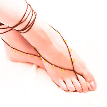 Chocolate  lemon barefoot sandals Beaded crochet nude shoes, Gypsy fashion, sexy foot slave jewelry,  yoga, anklet , bellydance, foot thong