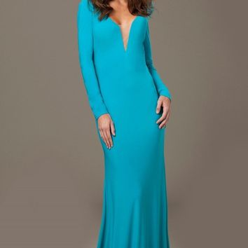 Jovani - 23532 Plunging Long Sleeves Fitted Dress with Back Slit