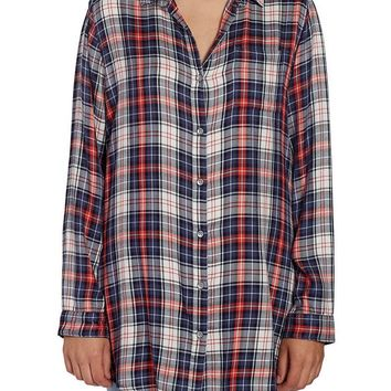 JAG Jeans Magnolia Tunic in Rayon Plaid (Coral Plaid)