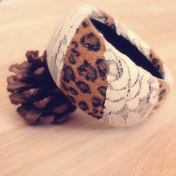 Cheetah and Lace Bangle Bracelet