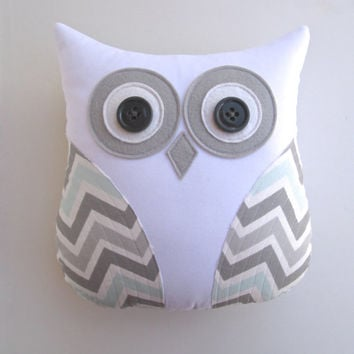 owl pillow, grey and blue chevron pillow, mist and gray chevron, pillow, animal pillow, blue white nursery decor by whimsysweetwhimsy