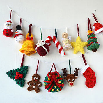 Christmas Ornaments Crochet Pattern - 14 Christmas Tree Decorations Pattern - Crochet Tree Santa Reindeer Star Angel Snowman Candy Cane