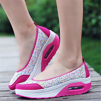 Wedges Shoes Women Casual Shoes Breathable Air Mesh Outdoor Travel Walking Dail Wear Shoes For Female New Style Shoe 863626