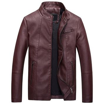 leather motorcycle casual jacket