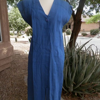 Vintage Blue Dress. Linen. YOUNGWOO. Size Small / Medium. V Neck. Short Sleeves. Size 4. S / M. Spring / Summer