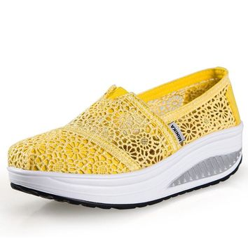 Shoes For Women Fitness Travel Ladies New Summer Canvas Shoes Lace Rocking Shoes Women Breathes Slope And Cloth Shoes Sneaker