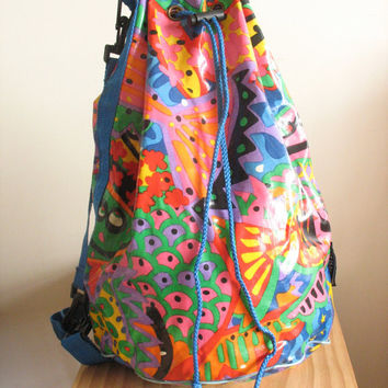 80s 90s drawstring bag backpack. graffiti art bag. Beach bag. New Rave. loud pattern. colorful. nu rave. kids. duffle. gym bag. summer.