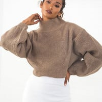 Oversized Cropped Sweater Taupe
