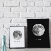 Moon Canvas Art Print Poster, Wall Picture - No Frame