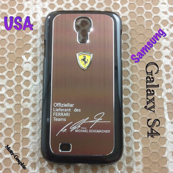 Ferrari Samsung Galaxy S4 Case Ferrari 3D metal Logo Premium Cover for S4 / i9500 - coffee Brown