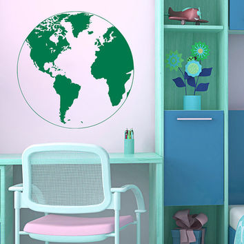 Wall Decals World Map Globe Earth Continents Countries Vinyl Decal Sticker Home Decor Living Children's Room Stady Office Murals ML160