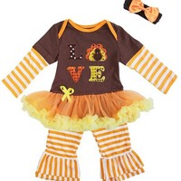 Baby Girl's Love Thanksgiving Outfit and Headband Set