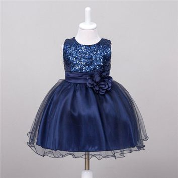 Summer Baby Dresses Girls Sequin Flower Bowknot Birthday Wedding Party Tutu Dress 2016 Girl Vestido S2