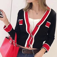 """""""Chanel"""" Women Fashion Multicolor V-Neck Long Sleeve Sweater Knit Cardigan Buttons Short Coat"""