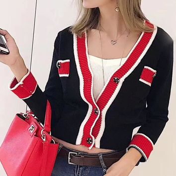 """Chanel"" Women Fashion Multicolor V-Neck Long Sleeve Sweater Knit Cardigan Buttons Short Coat"