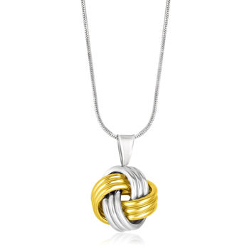 Ridge Textured Love Knot Pendant + Necklace in Yellow Gold & Silver