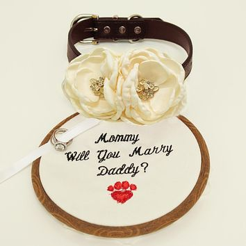 Ivory beaded flower dog collar, flower and handmade Embroidery sign attached to leather collar, will you marry me sign, proposal dog collar